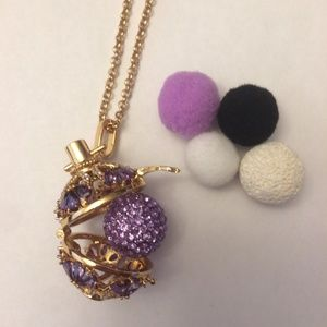 Gold purple crystal necklace / essential oil gift